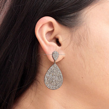 Pave Diamond Earrings 925 Sterling Silver Drop Earrings Jewelry