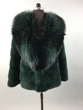 Green Mink Fur Coat With Fox Collar Fur Jacket Full Skin