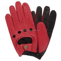 Driving Gloves Red Leather Unlined Genuine Cowhide Leather Warm For Winter