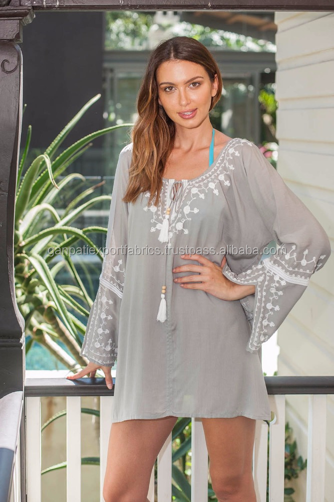 2016 Hot Summer's Wear Sexy Rayon Embroidered Top Tunic Beach Cover Up Tunic