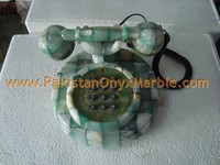 DECORATIVE ONYX PATCH WORK TELEPHONE SET