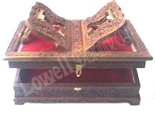 "WOODEN HAND CARVED HOLY BOOK STAND AND BOX KASHMIRS CARVING DESIGN(12X8X3"")"
