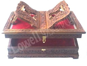 Wooden Hand Carved Holy Book Stand And Box Kashmirs