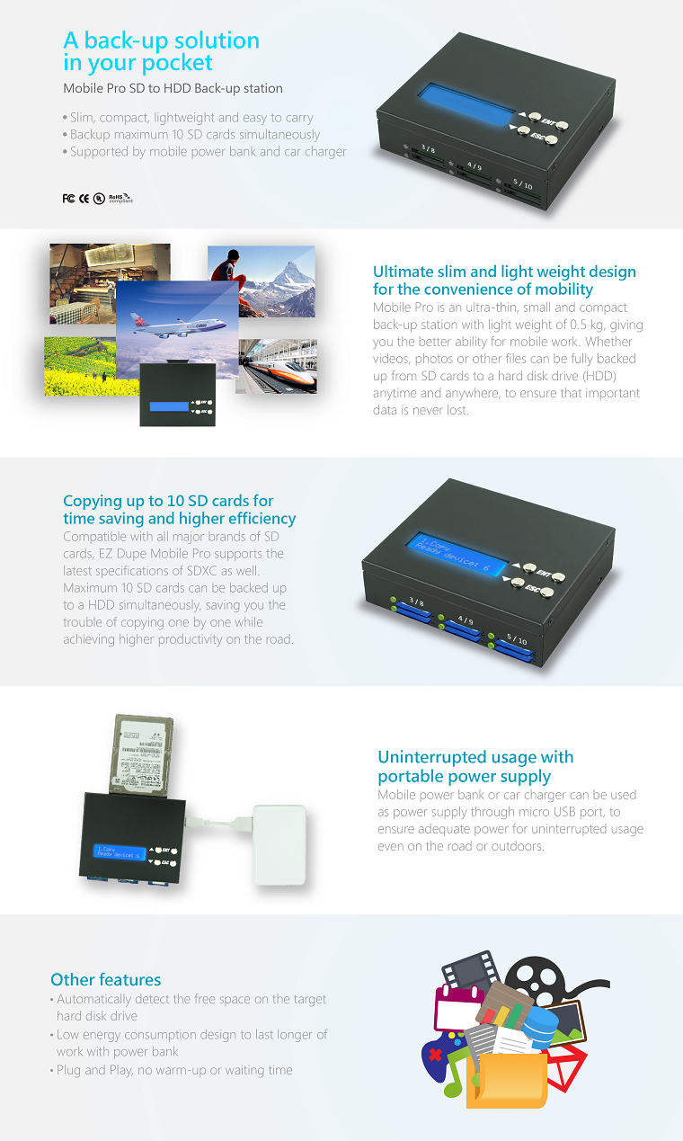 EZ Dupe Mobile Pro Series 5 SD Card to 1 HDD Backup Duplicator