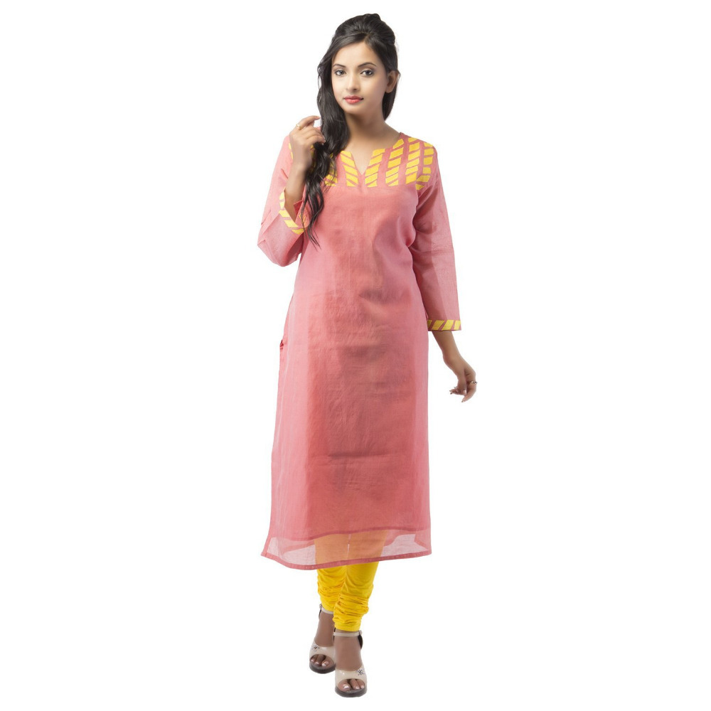 Plus Size Chanderi Peach Kurti For Women ( DMK_00004 )