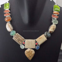 Picture Jasper, Green Monalisa, Labradorite, Onyx, Coral, Biwa Pearl Necklace plated 925 Sterling Silver 73 Gms 18-20 Inches