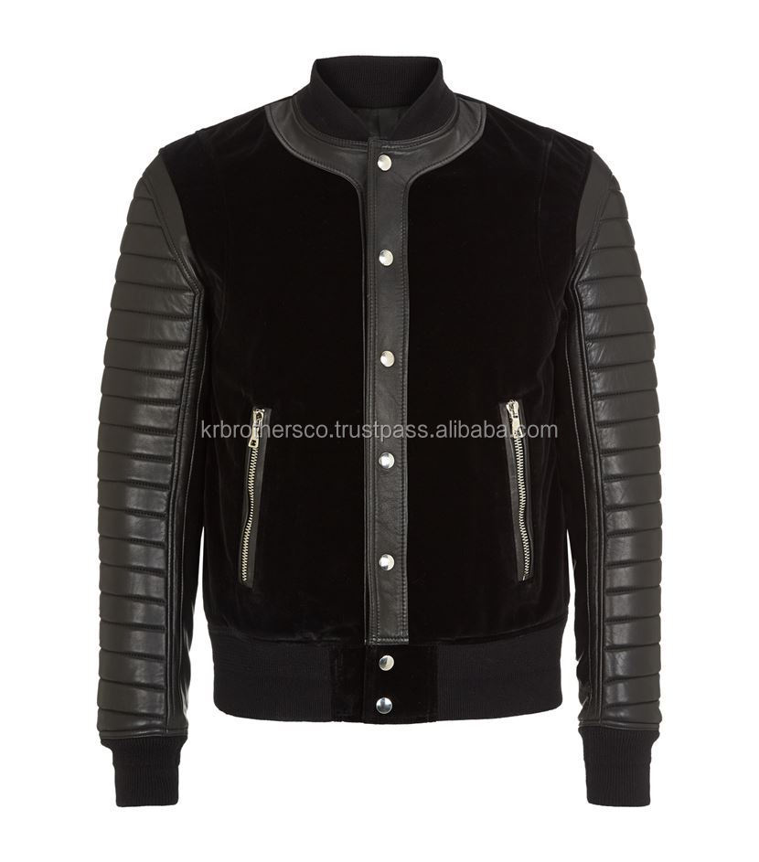 Men Black velvet Panelled Leather Bomber Jacket