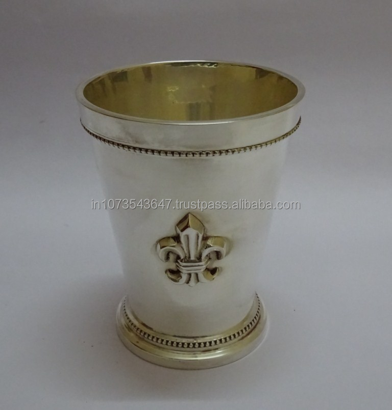 Indian Handmade Brass Mint Julep Cup Silver Plated