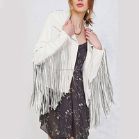 LUKE APPARELS- New hot sale women 100% real leather jacket with fringe on arms plus size custom color available