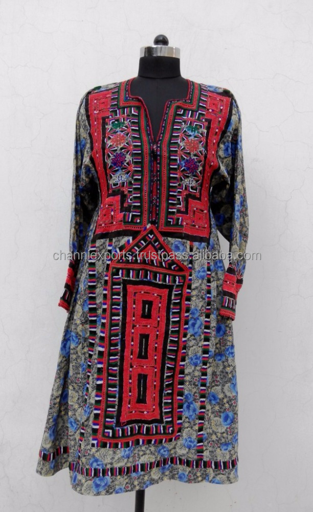 Unique style tribal ethnic vintage hand embroidery boho banjara balochi dresses