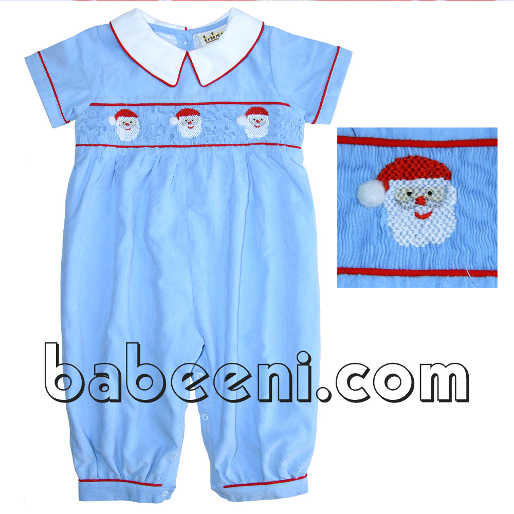 Nice Santa Claus hand smocked long bubble for baby boy