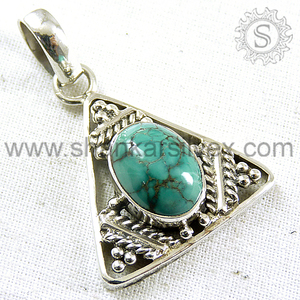 Antique New Triangle Pendant Turquoise Gemstone Jewelry Exporter 925 Sterling Silver Handmade Pendants Online