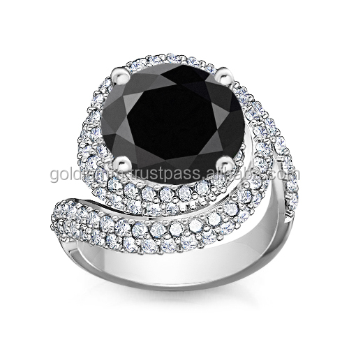 Royal and unique black diamond 4 carat ring made 14K real gold , engagement ring diamond jewelry , royal jewelry , natural