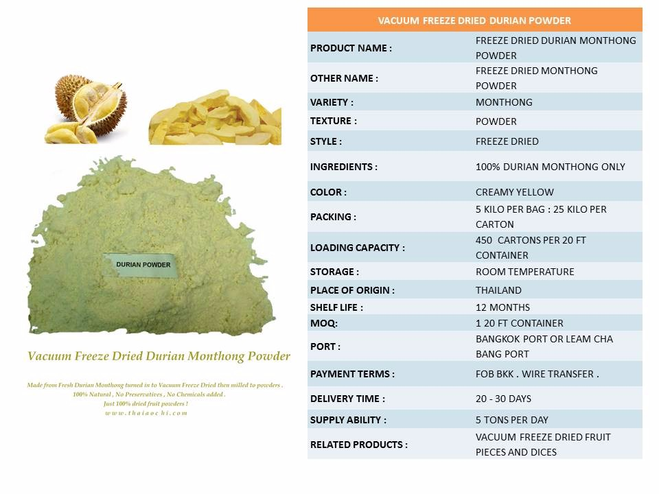 Vacuum Freeze Dried Durian Powder