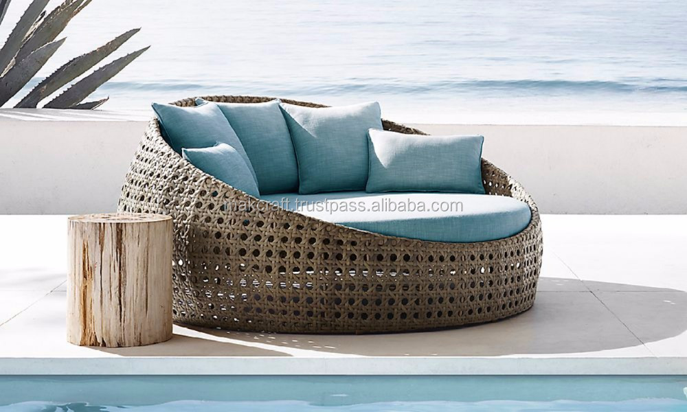 Wicker round rattan pool chaise lounge sun lounger - Wicker round daybed pool chaise -Rattan outdoor furniture round sun lounger