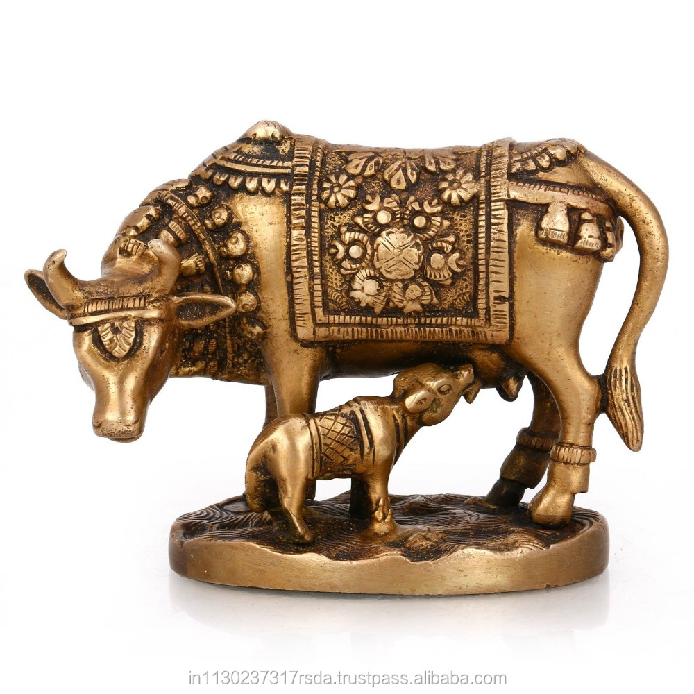 Kamdhenu Cow Calf Statue Brass Sculpture Mother Baby Animal Figurine Holy Decor Baby Shower Gifts