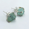 Exclusive Fashion !! Aquamarine Prong Setting 925 Sterling Silver Earring, Rough Stone Silver Jewellery, Silver Jewelry