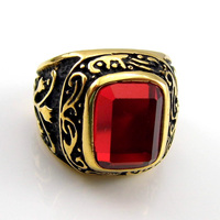 Wholesale Male Finger Rings New Fashion Men's Jewelry 4 Kinds Of Color 18K Yellow Gold Filled