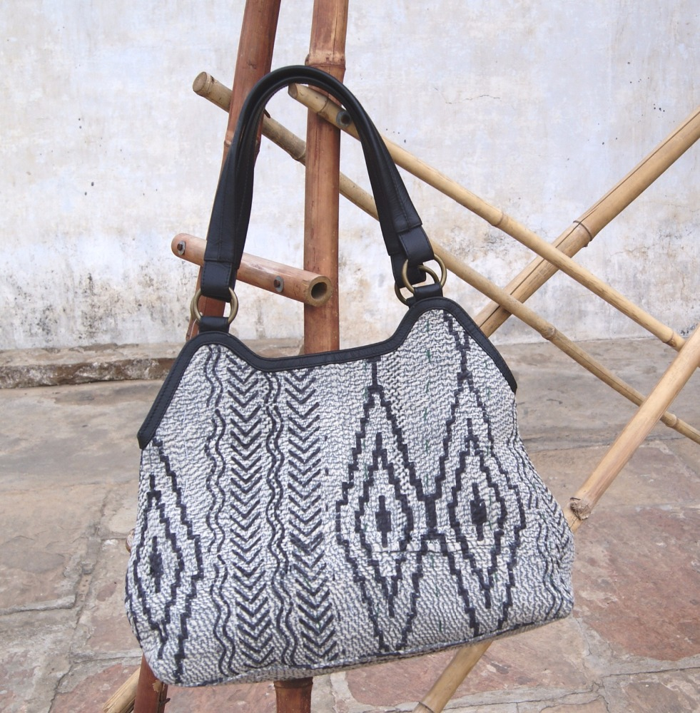 kantha and leather handbag with 3 different pockets