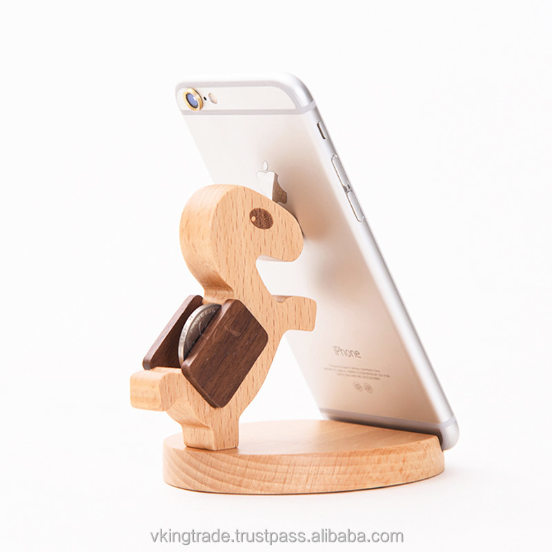 Vking Creative Wooden Square mickey mouse ring phone holder with Cartoon Character Office