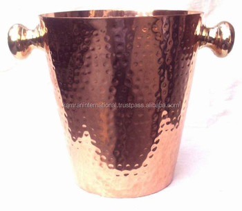100% COPPER HAMMERED FINISH WINE COOLER BUCKET WITH BRASS HANDLE