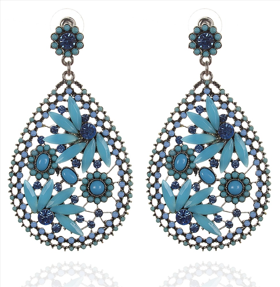 Zephyrr Fashion Pierced Hanging Earrings Handmade Casual blue Stones blue Beads
