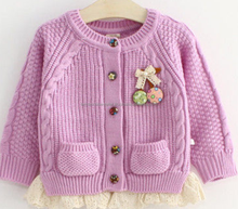 2016 LATEST DESIGN 100% ACRYLIC KNITTED CHILDREN BOW CARDIGAN SWEATER