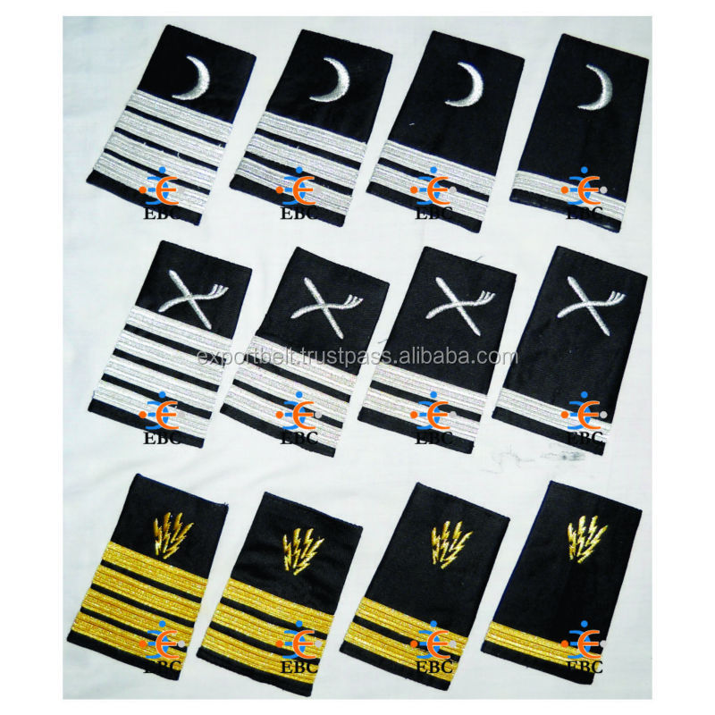 Epaulettes Merchant Navy, Pilot Epaulettes, Airliner Epaulettes, Marine Uniform Epaulettes with Gold French Braid