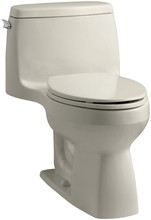 KH K-3810-G9 Santa One-piece Compact Elongated 1.28 GPF Toilet with Aquapiston Flush Technology and Left-hand Trip Lever SandBar
