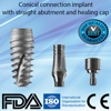 Dental implant + abutment + healing cap similar Nobel Active conical connection