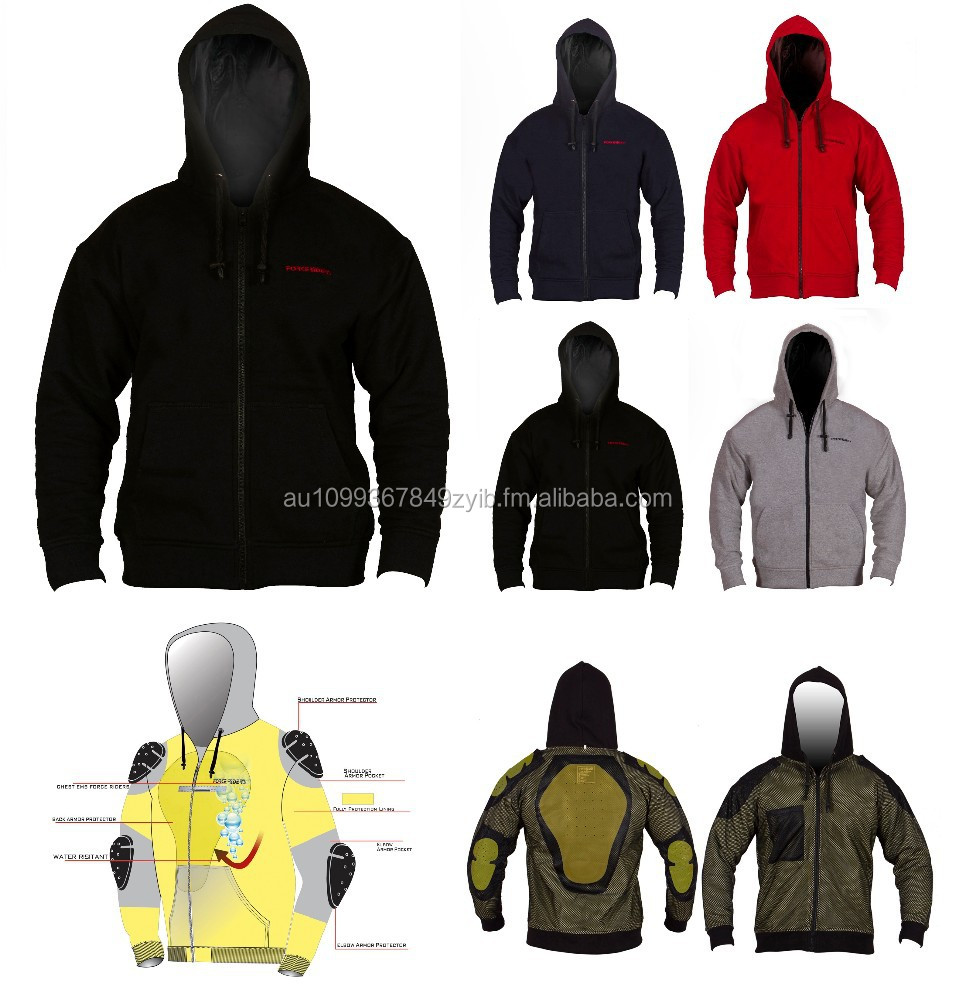 Motorbike Hoodie Fleece Water Resistant Fully Lined Aramid Fabric