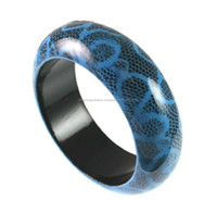 Blue background snake designer rounded wooden bangle bracelet