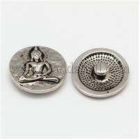 Environmental Alloy Rhinestone Snap Buttons, Flat Round Carved Buddha, Cadmium Free & Nickel Free & Lead Free X-SNAP-F004-17-NR