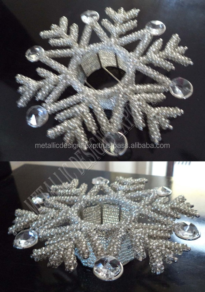 Exclusive Metal Beaded & Crystal Christmas t-light holder