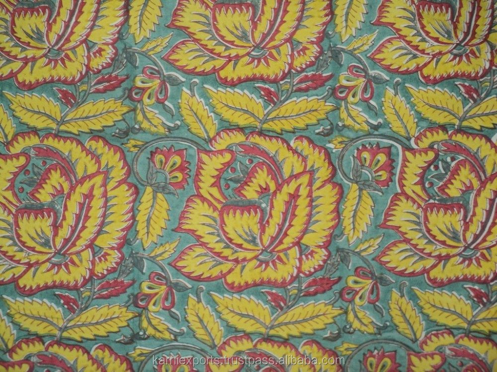 Jaipur hand made hand block print designs for dress for Patterned material for sale