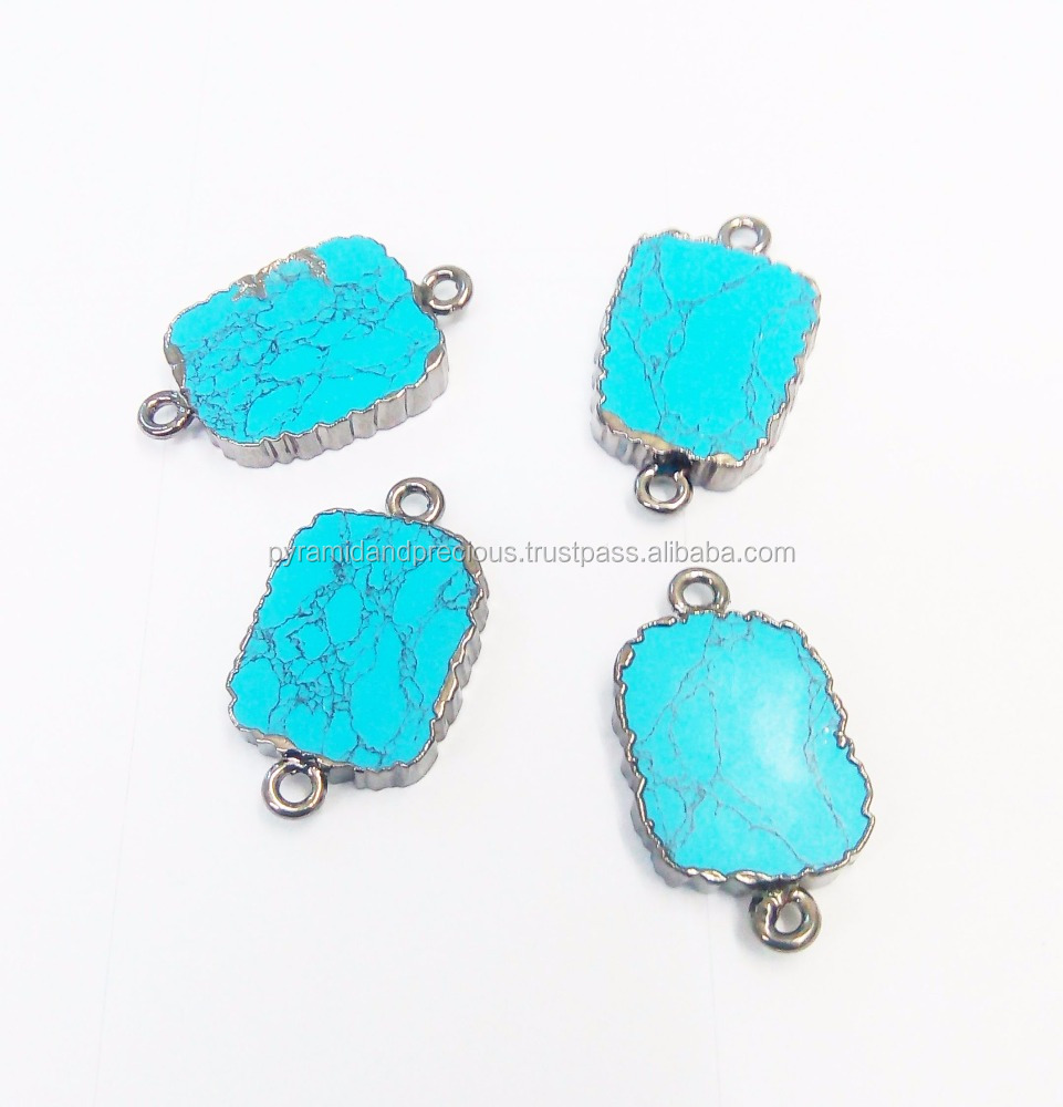 Turquoise Slice Nugget Connector With Gunmetal Electroplated Edged