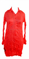 Women Red Plain Cotton Kurta