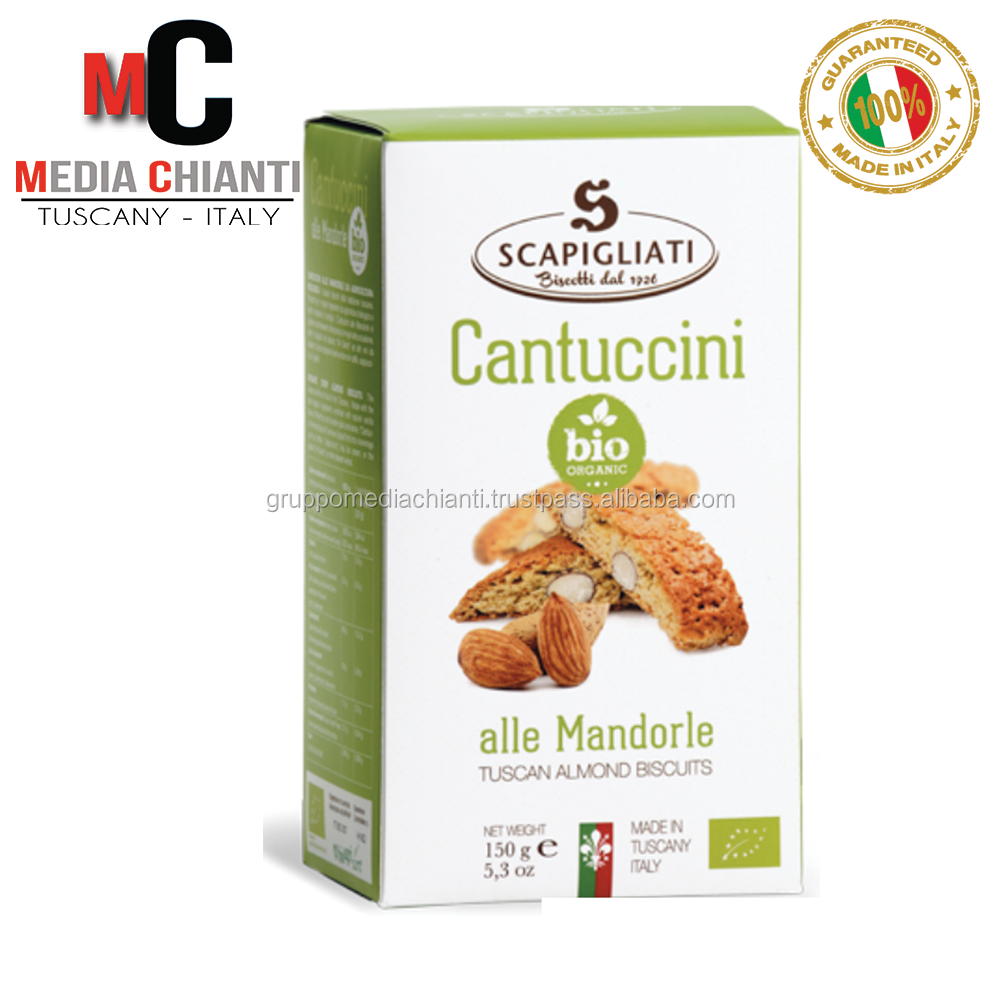 Finest Quality Specialty ORGANIC BIO ALMOND CANTUCCINI biscuits cookies (150 gr box) Made In Italy