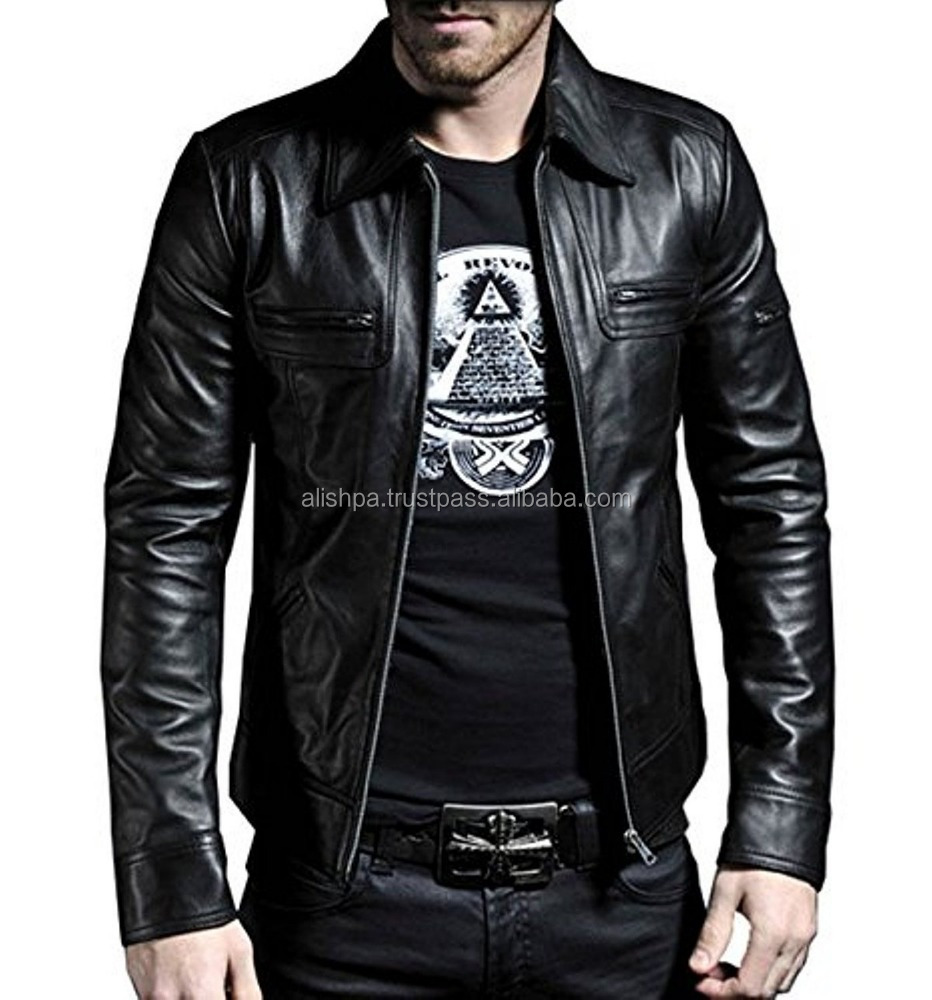 Lambskin Leather Men Regular Black Jacket