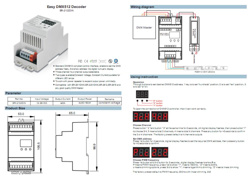 Easy Dmx Decoder Din Rail Controller Sr-2102din