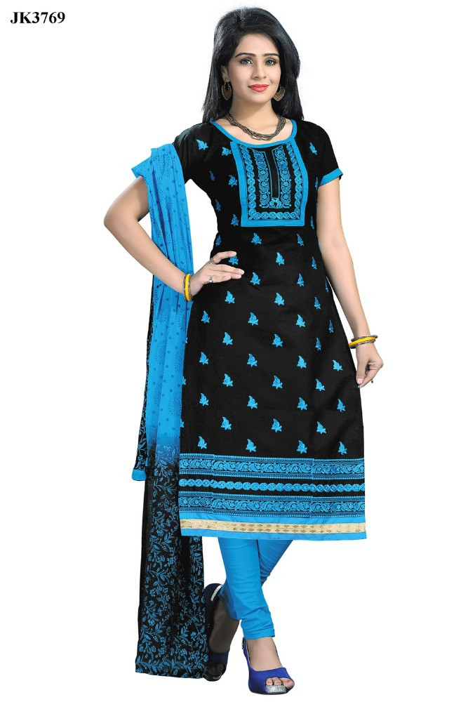 Perfect Black And Blue Color Resham Embroidery Work Un Stitched Cotton Churidar Suit