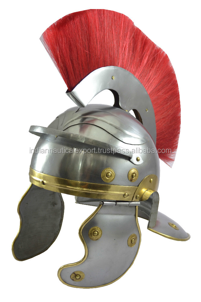 Wearable Imperial Medieval Armour Helm Roman Centurion Helmet With Red Plume