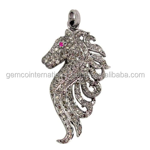 Animal Shaped Diamond Jewelry 925 Sterling Silver Sea Horse Pendant