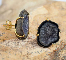 Latest Fashion 24k Gold Plated Black Geode Druzy Gemstone Women Stud Earring
