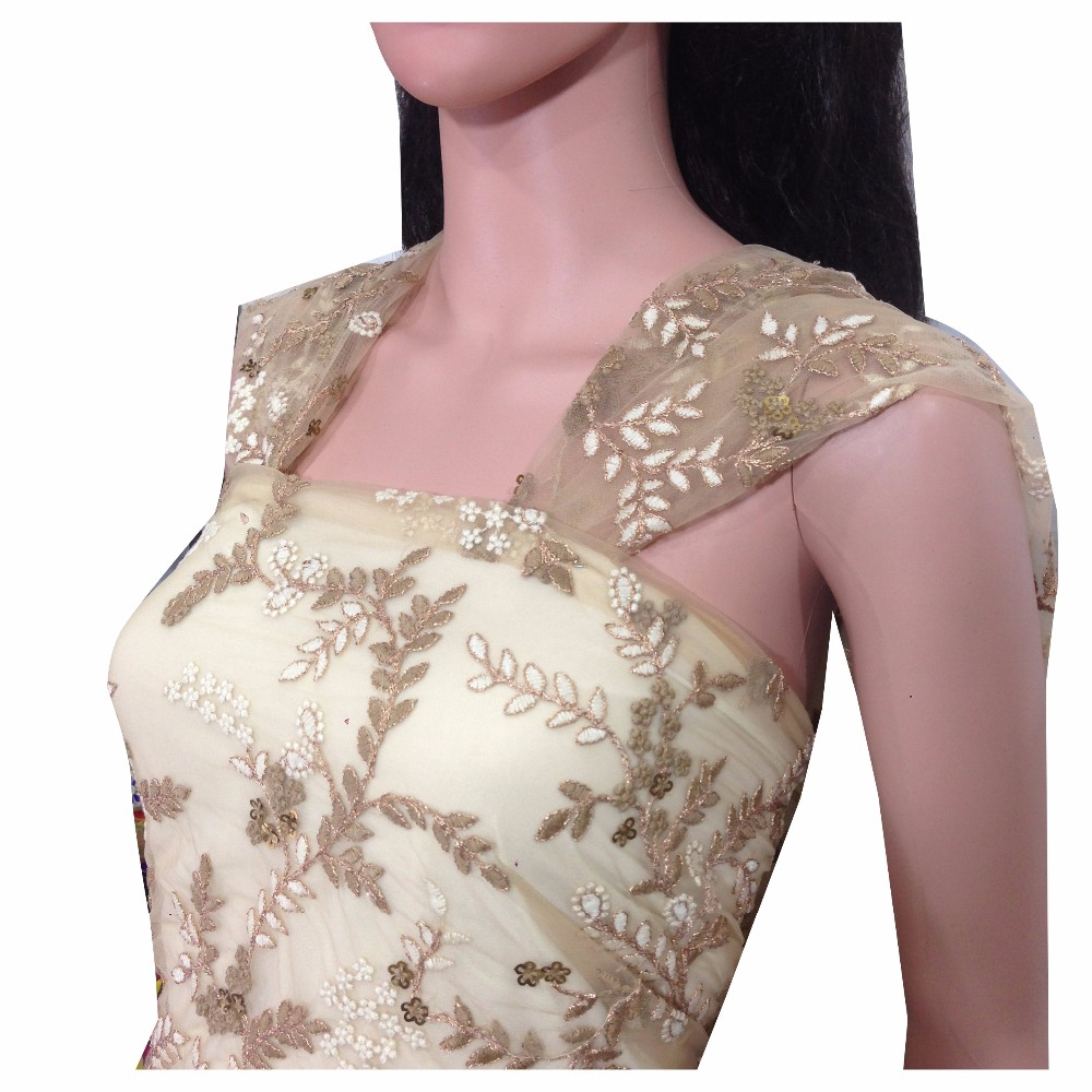 Soft Beige net Embroidery with faux mirror wedding indian wholesale fabric; best selling fabric for women apparel clothes, bags