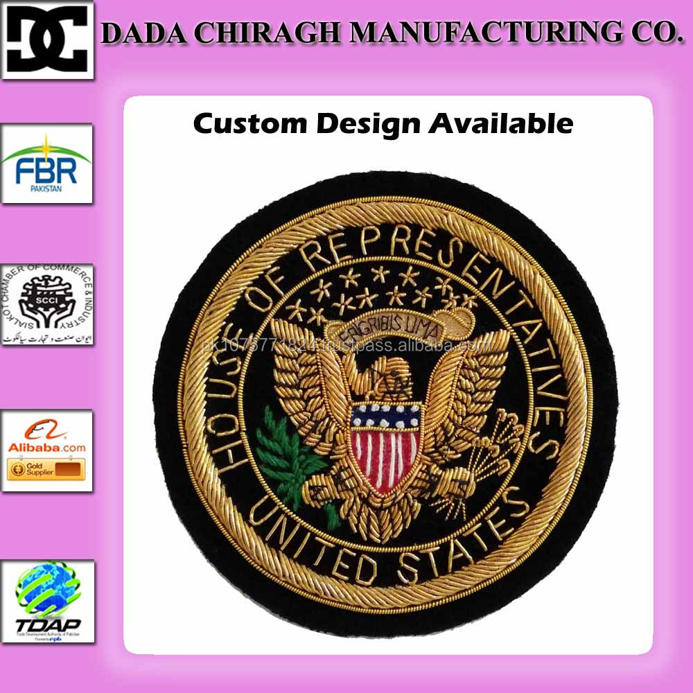 GARMENT ACCESSORIES HANDMADE BULLION WIRE EMBROIDERY BADGE PATCH HOUSE OF REPRESENTATIVES DESIGN