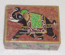 Elephant Design Soapstone Painted Box