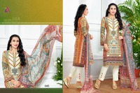 MOUFIZ 3 LAWN COTTON SEMI- STITCHED CASUAL SALWAR KAMEEZ DESIGNS FOR STITCHING