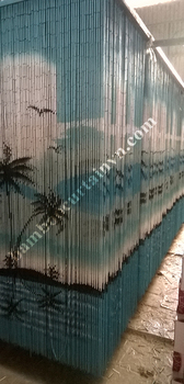 Bamboo bead curtain 100% hand made and hand painted palm tree on beach