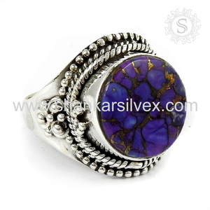 Trendy Gemstone Ring Wholesale 925 Sterling Silver Jewelry Purple Copper Turquoise Ring